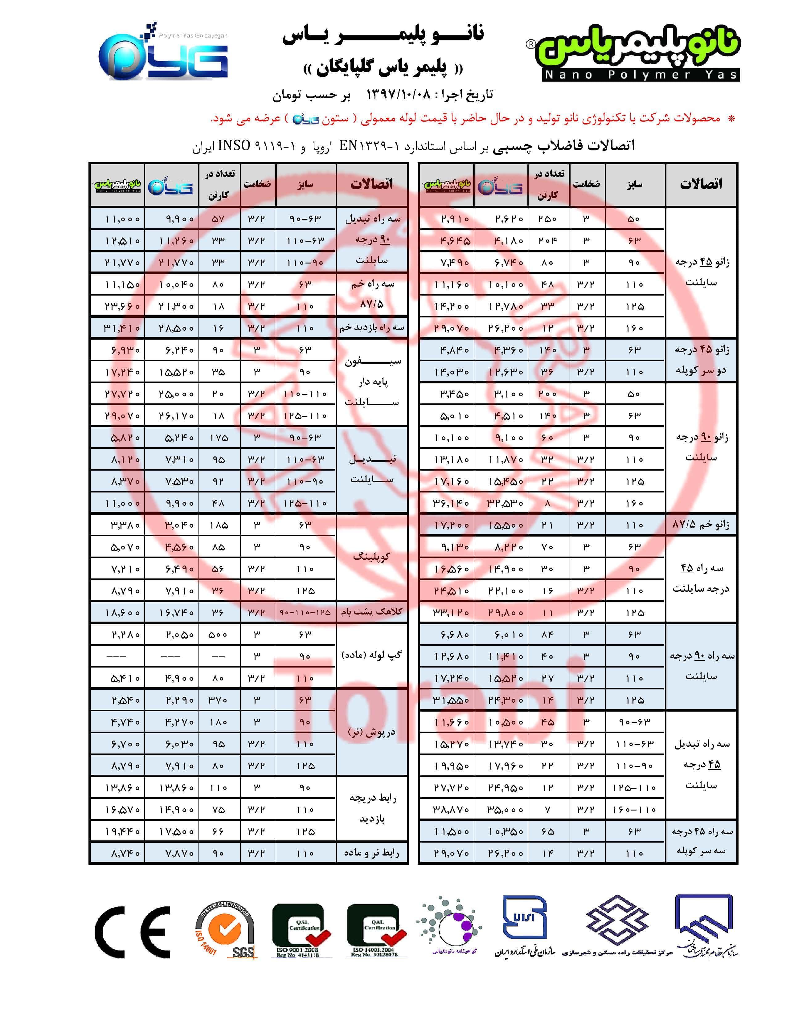 لیست قیمت پلیمر یاس گلپایگان 97/10/08 صفحه 2